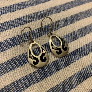 Opal/Abalone Inset Silver Drop Earrings EUC